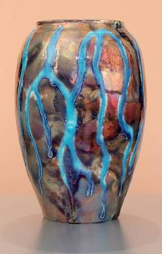 """Iridescent Pottery by Paul J. Katrich - Frost On The Window - Vessel 1614 - (7 1/4"""")"""