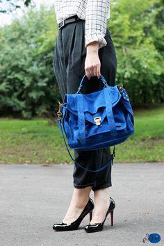 vibrant blue #bag x black #pumps :: PS1 by Proenza Schouler x Christian #Louboutin