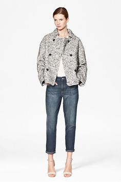 Electric Checked Boucle Coat: This textured boucle coat will be your style investment of the season. Subtle bright thread woven throughout is a luxury finishing touch.