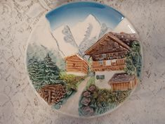 Vintage West German 3D Wall Plate Mountain Village Scene in Relief by MendozamVintage on Etsy