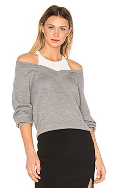 MERINO V NECK SWEATER WITH INNER TANK T BY ALEXANDER WANG $275
