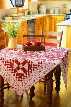 red + white + yellow country kitchen cottage + vintage + antique red and white quilt tablecloth + apples