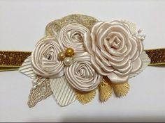 Tiara de bautizo blanca con flor enrolladaVIDEO No.449 creacionesrosaisela - YouTube