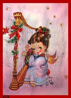 VINTAGE CHRISTMAS Angel Fabric Block Print Angel by fabricblocks, $6.00