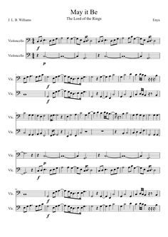 May it Be from the Lord of the Rings sheet music| MuseScore two Cellos