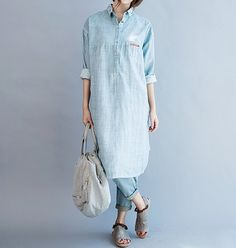 Women Loose Fitting Soft comfortable Cotton dress shirt by MaLieb