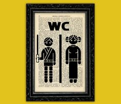 Star Wars Toilet Sign Art Print -WC Luke Leia Poster Book Art Dorm Room Print Gift Print Wall Decor Poster Dictionary Print Art