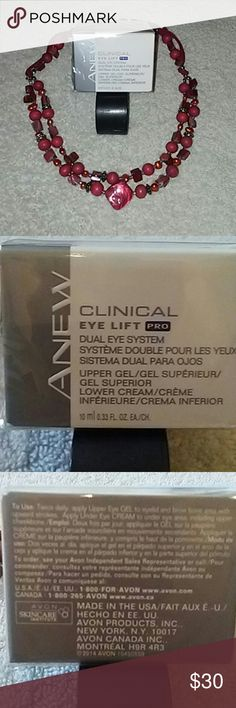 NWT ANEW CLINICAL EYE LIFT PRO DUEL EYE SYSTEM GEL NEW IN BOX. 10ML/ .33 FL OZ GEL CONTAINER. APPLY TWICE DAILY TO EYELIDS AND BROW BONE TO FIRM LIFE & RESTORE. BUNDLE & SAVE!! MAKE ME AN OFFER!! Avon Makeup