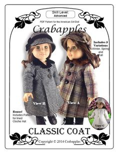 Classic Coat and Cloche Hat Pattern for American Girl Dolls - Crabapples for Pixie Faire $12.00