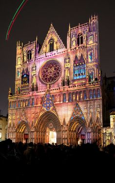 Light Festival lyon, France .  It was lightly raining as we ran through the town of Lyon in search of this beautiful cathedral.  We arrived as the sun was setting.  It was a stunning moment in my life.  Always to be remembered.