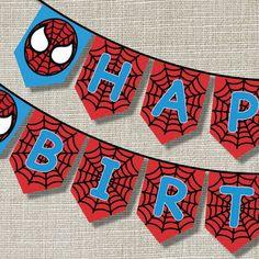 SPIDERMAN Happy Birthday Banner  Inspired  Pop by AnnaJaynePrints on Etsy