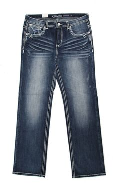 Grace in LA Plus Size Jeans Straight Leg with Flat Blue Embroidered Pockets PS51096