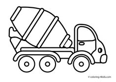 Cement Mixer Truck Coloring Pages Free - Coloring For Kids 2019 Tractor Coloring Pages, Preschool Coloring Pages, Truck Coloring Pages, Disney Coloring Pages, Free Printable Coloring Pages, Coloring For Kids, Coloring Pages For Kids, Coloring Sheets, Coloring Books