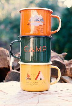 Autumn enamel camp mugs
