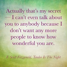F. Scott Fitzgerald. This man knew how to write.