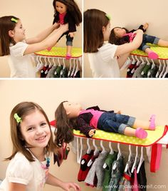 doll beds, tension rod, doll storage ideas, clothing storage, princess dresses, baby dolls, american girl, baby doll clothes, closet storage