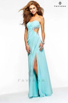 7122 Chiffon Seafom Faviana Gown