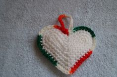 White crochet ornament with red,green and white vareigated yarn trim by CreativeCrochetbyChris, $5.00 USD SOLD