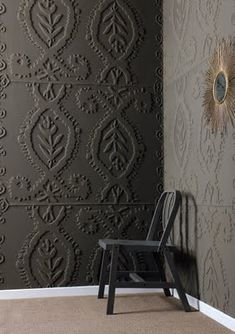 Textured wall paper for hallway from Lowes.