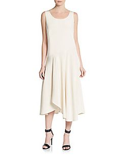 Evalyn Silk Asymmetrical Dress