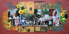 Animal Kingdom scrapbook 2 page layout of the India area with flourishes from Cricut's Reminisce and background circles from Elegant Edges. I love the pretty sunflowers.