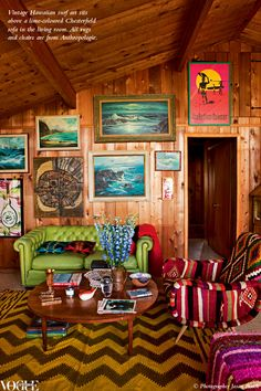modern boho interiors | Colorful , vintage , boho styled lounge room with lots of charm.
