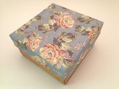 Square Wooden Trinket box with blue floral by PillowtasticPlus