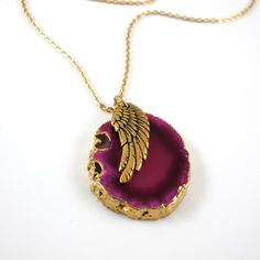 Agate Chain Necklace Pink, $74, now featured on Fab.
