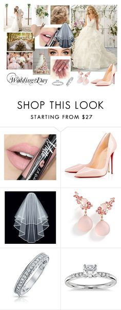 """""""Weddinf of Valentine's Day #3"""" by modefan2 on Polyvore featuring Fiebiger, Christian Louboutin, Brumani, Bling Jewelry, Blue Nile, Amsale, women's clothing, women, female and woman"""