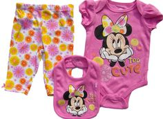 Minnie Mouse Too Cute Baby Onesie, Pants, and Bib 3-Piece Set (0/3M). Comfortable Minnie Mouse 3-piece set includes onesie, pants, and matching bib. Pink pullover onesie snaps at the crotch and features a Minnie graphic declaring Too Cute. Pink and yellow flowers adorn comfortable stretch knit pants. Soft bib matches onesie and fastens with a snap. Licensed Disney Baby Product.