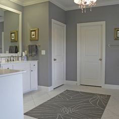 Love this paint color.  Probably for the master.  Grey Clouds - Sherwin Williams