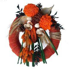 Kegyeleti koszorú juta szalagos alapon - narancs - Szárazvirág díszek webáruháza Grapevine Wreath, Grape Vines, Wreaths, Fall, Home Decor, Jute, Autumn, Decoration Home, Room Decor
