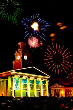 The 4th of July celebration at the University of Redlands every year is beloved by many local residents. This photo shows the fireworks that took place during our Centennial year. By PhotosbyFlood