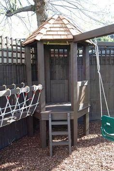 Playframe with rope bridge, play house, monkey bars, swing, fireman's pole 2