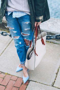 Weekend style ripped boyfriend jeans and kitten heels