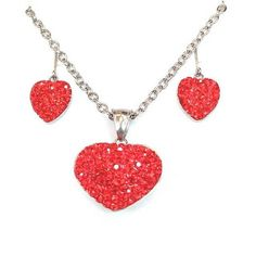 Austrian crystal hearts in classic lovers red adorn this sterling silver necklace and earrings set. This is the perfect anniversary gift for any year, a forever Valentine, a living birthday gift, and so much more. Show her you love her with a gorgeous, sparkling gift shell never