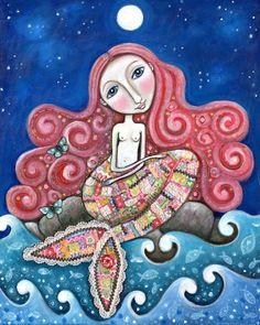 "Mermaid art whimsical folk print romantic wall decor women girl red hair paper patchwork mixed media painting - ""Plenty of Fish In the Sea"". $20.00, via Etsy."