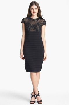 MARINA Illusion Bodice Banded Sheath Dress available at  Nordstrom Dresses  To Wear To A Wedding a6f480ea76c3