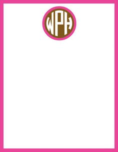 Chocolate and Pink Circle Monogram Note Cards