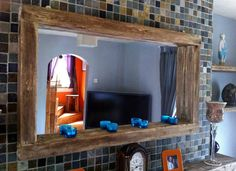 large Rustic Reclaimed wooden Mirror with Tea light shelf in Home, Furniture & DIY, Home Decor, Mirrors | eBay