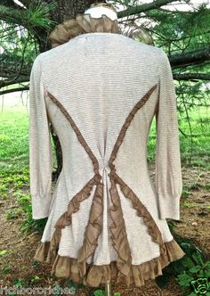 Anthropologie Guinevere Cardigan Sweater Ivory Taupe Stripe Chiffon Ruffle M | eBay