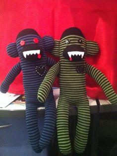 Homemade vampire sock monkeys