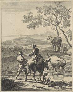 Cornelis Visscher (II)   Herderin op een ezel, Cornelis Visscher (II), 1657 - 1658   Glooiend weids landschap met op de voorgrond een herderin op een ezel. Naast haar een man met stok over de schouder en een hond. Twee koeien en een schaap lopen voor hen uit.