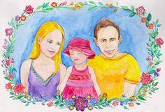 Custom Watercolor Portrait, Custom Family illustration, Family portrait, Custom watercolor family, Custom Painting , Сustom portrait, art by GiftArtstatus on Etsy