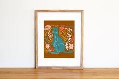 Illustrazione da scaricare subito con un canguro turchese e foglie e fiori. Perfetto per la cameretta e la nursery di IlluminoHomeIdeas su Etsy