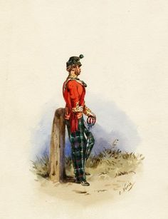 Officer, 1865 (by Orlando Norie). JM possibly in Edinburgh at this time. British Army Uniform, British Uniforms, Edwardian Era, Victorian Era, Military Art, Napoleon, Glasgow, Edinburgh, Soldiers