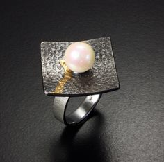 Akoya pearl and gold Keum Boo silver ring with texture by KAZNESQ $145.00