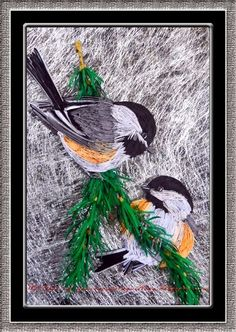 A Journey into Quilling & Paper Crafting: Quilled Dimensional Nature Picture Frame - Chickadees on a Pine Branch