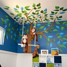 New Ideas Baby Room Boy Jungle Nursery Murals Jungle Nursery Boy, Baby Animal Nursery, Boy Nursery Themes, Jungle Room, Nursery Room, Monkey Nursery, Nursery Murals, Nursery Decor, Jungle Theme