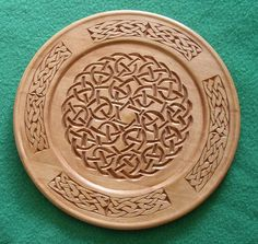 chip carved wooden celtic knot plate
